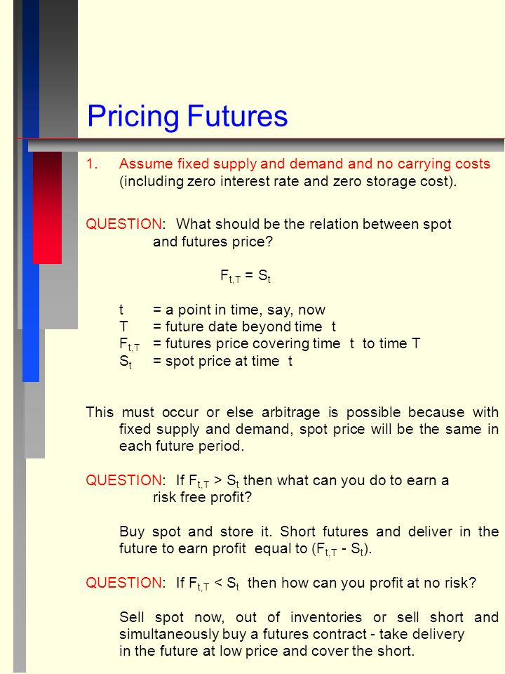 Pricing Futures 1.Assume fixed supply and demand and no carrying costs (including zero interest rate and zero storage cost).