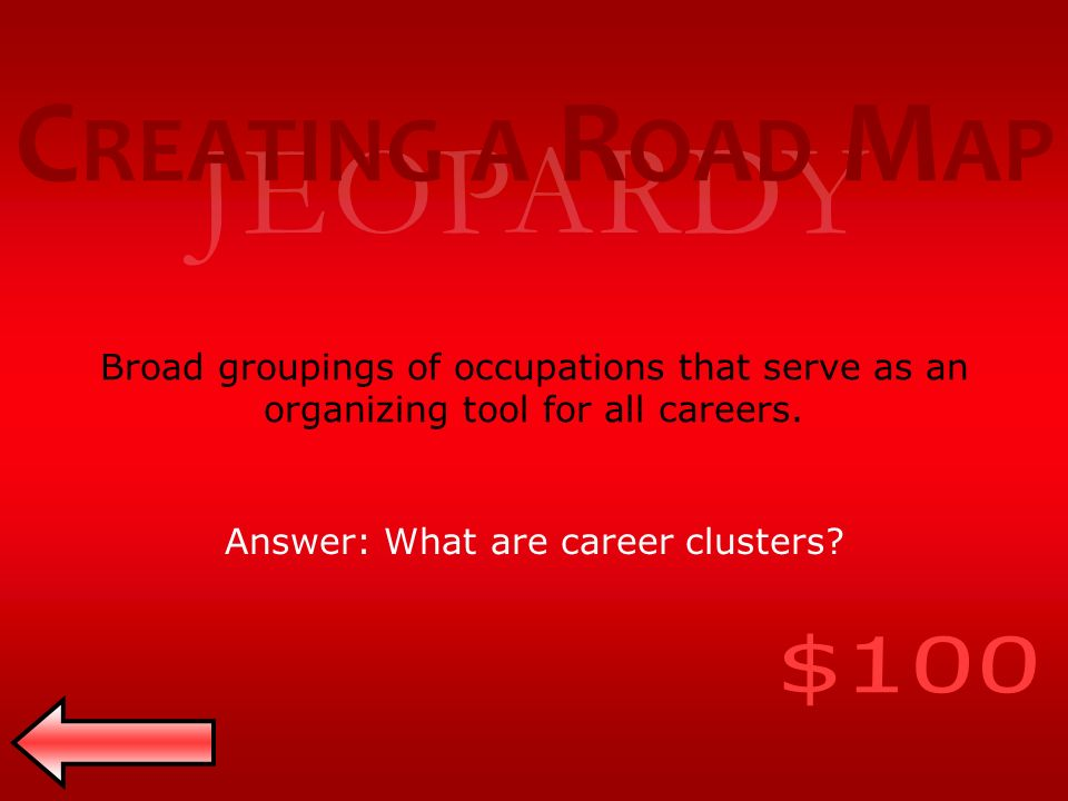 JEOPARDY Broad groupings of occupations that serve as an organizing tool for all careers.