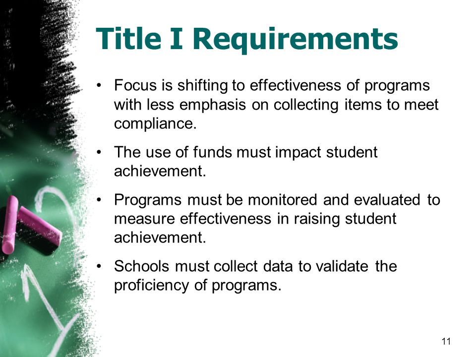 Title I Requirements Focus is shifting to effectiveness of programs with less emphasis on collecting items to meet compliance.