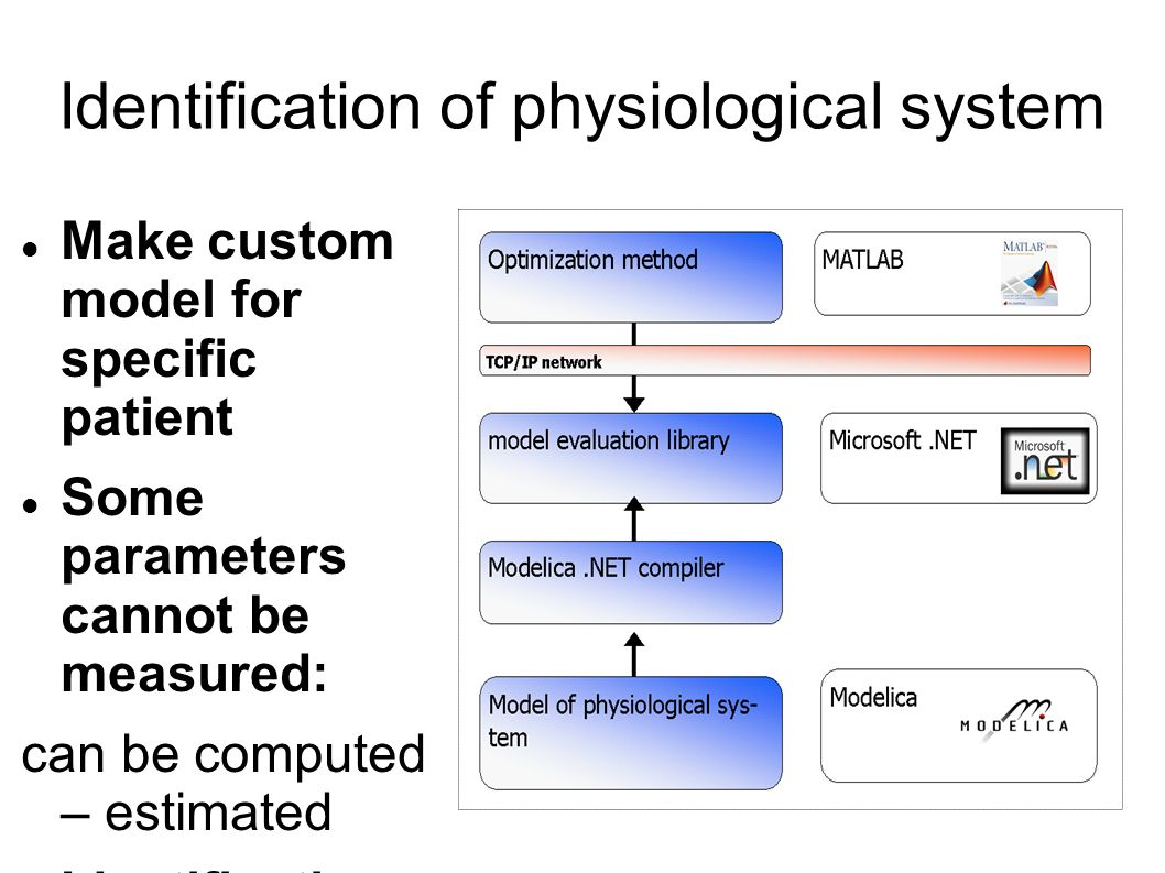 Identification of physiological system Make custom model for specific patient Some parameters cannot be measured: can be computed – estimated Identification: measured parameters and estimated parameters match the model.