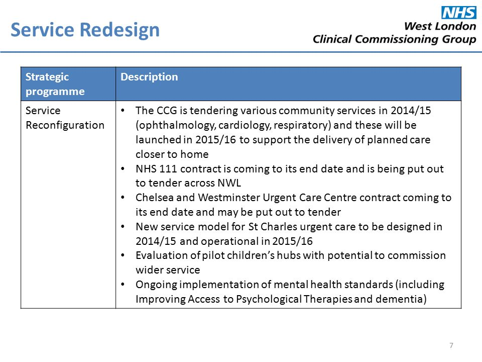Strategic programme Description Service Reconfiguration The CCG is tendering various community services in 2014/15 (ophthalmology, cardiology, respiratory) and these will be launched in 2015/16 to support the delivery of planned care closer to home NHS 111 contract is coming to its end date and is being put out to tender across NWL Chelsea and Westminster Urgent Care Centre contract coming to its end date and may be put out to tender New service model for St Charles urgent care to be designed in 2014/15 and operational in 2015/16 Evaluation of pilot children's hubs with potential to commission wider service Ongoing implementation of mental health standards (including Improving Access to Psychological Therapies and dementia) Service Redesign 7