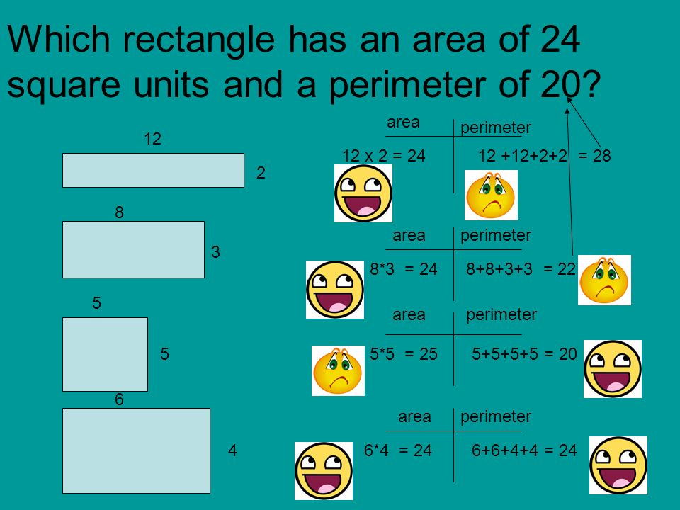 Which Rectangle Has An Area Of 24 Square Units And A Perimeter 20