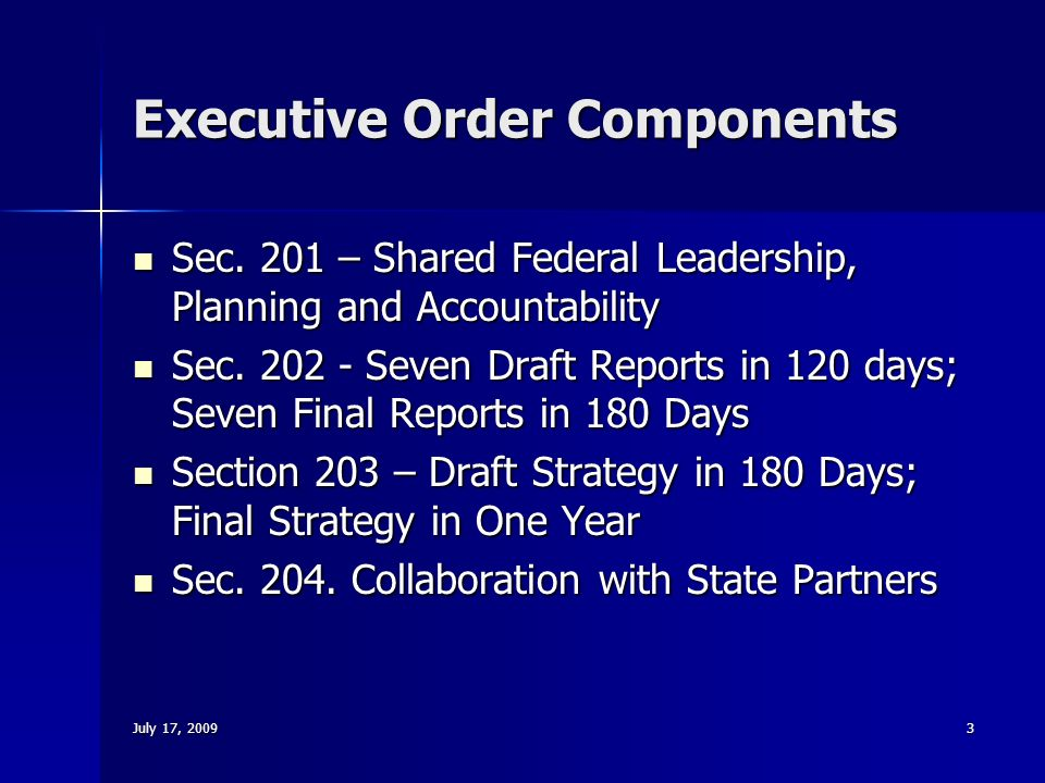 July 17, Executive Order Components Sec.