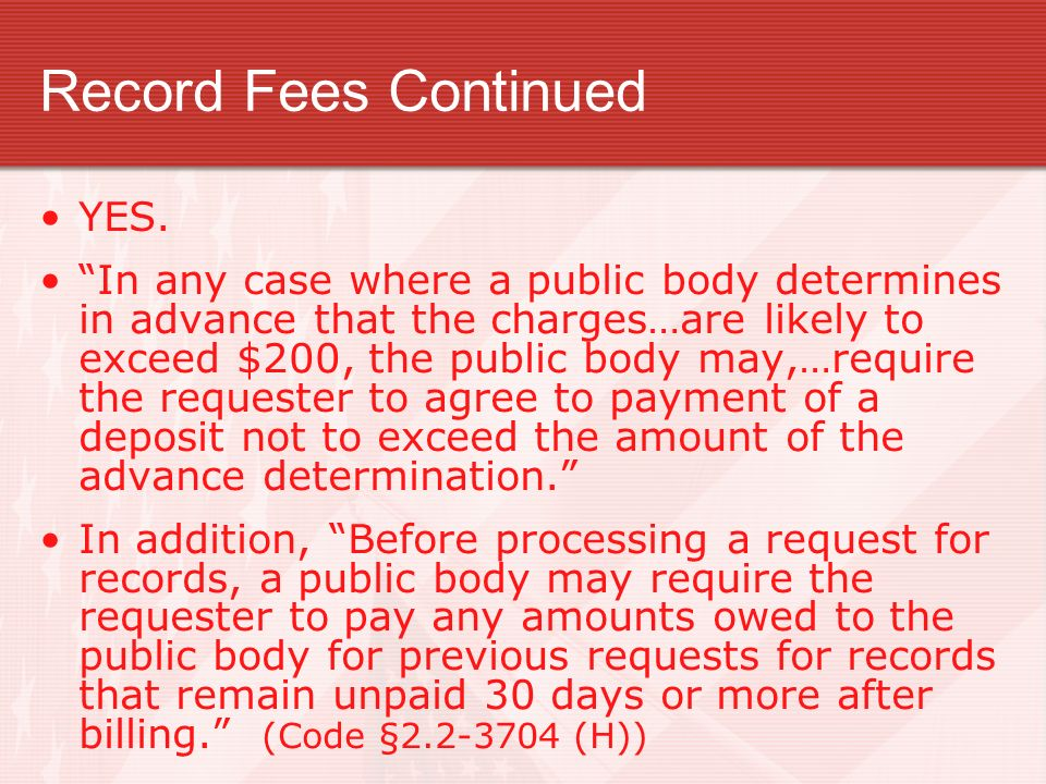 Record Fees Continued YES.