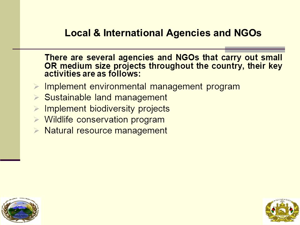 Local & International Agencies and NGOs There are several agencies and NGOs that carry out small OR medium size projects throughout the country, their key activities are as follows:  Implement environmental management program  Sustainable land management  Implement biodiversity projects  Wildlife conservation program  Natural resource management