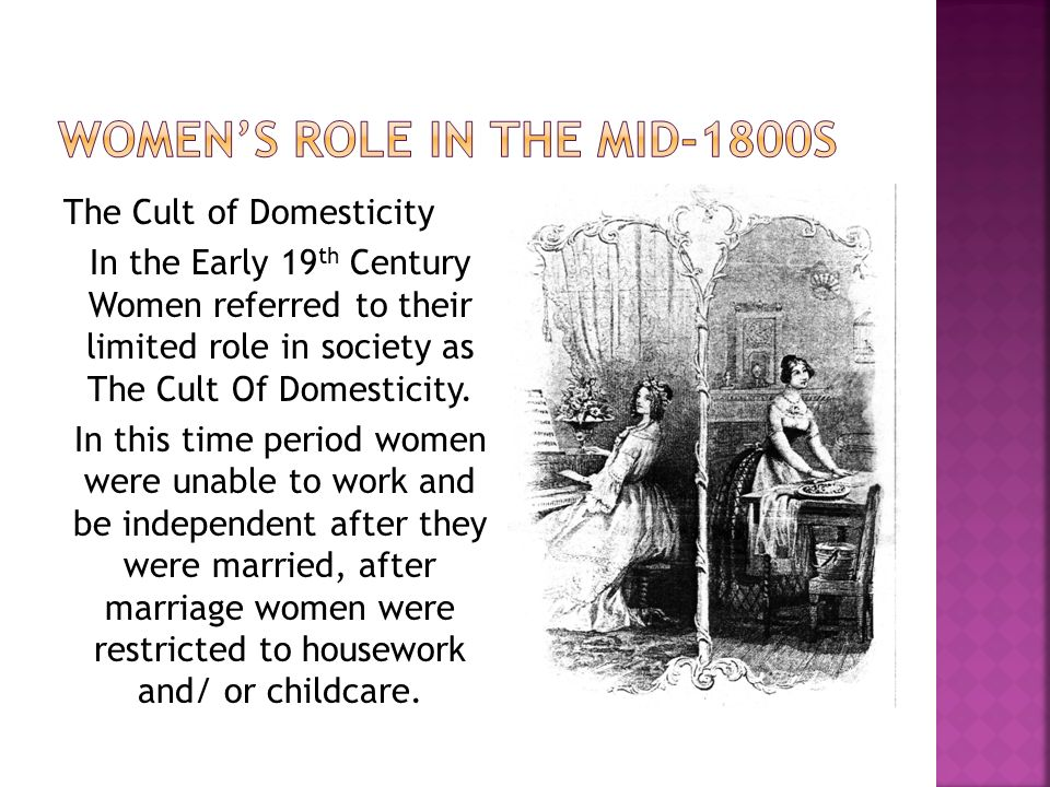 The Cult of Domesticity In the Early 19 th Century Women referred to their limited role in society as The Cult Of Domesticity.