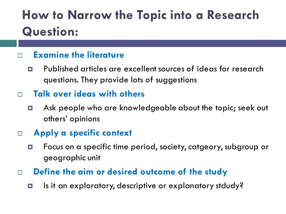Research topic ideas?