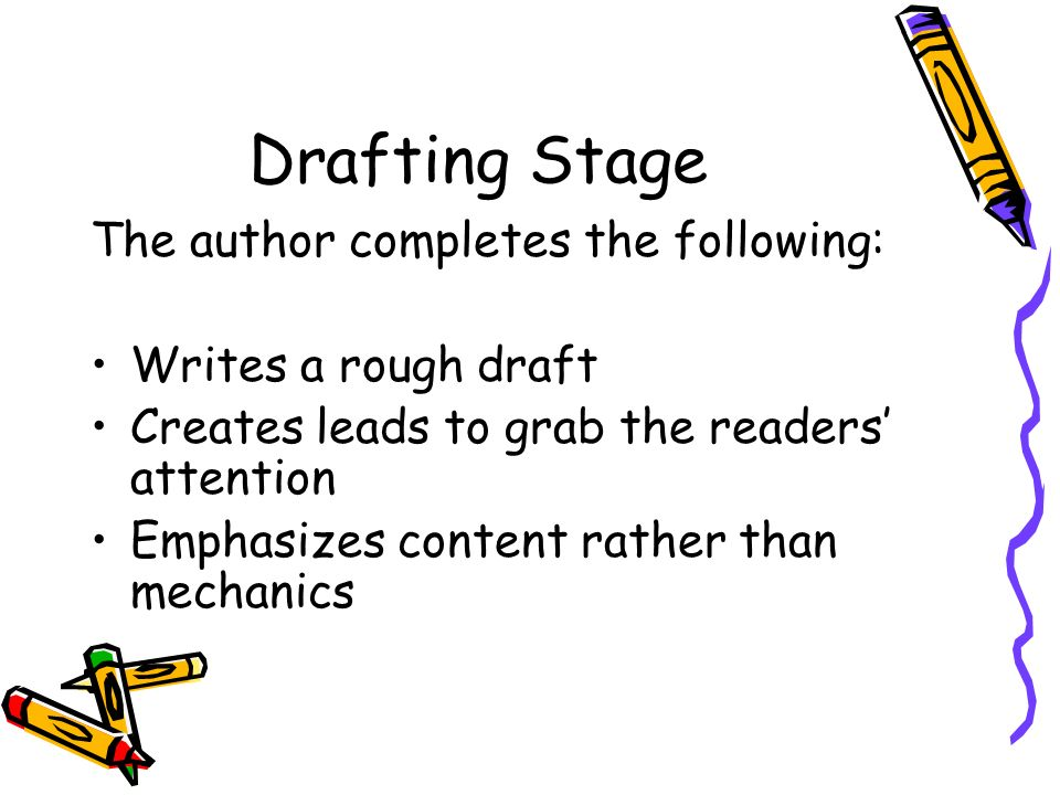 Drafting Stage The author completes the following: Writes a rough draft Creates leads to grab the readers' attention Emphasizes content rather than mechanics