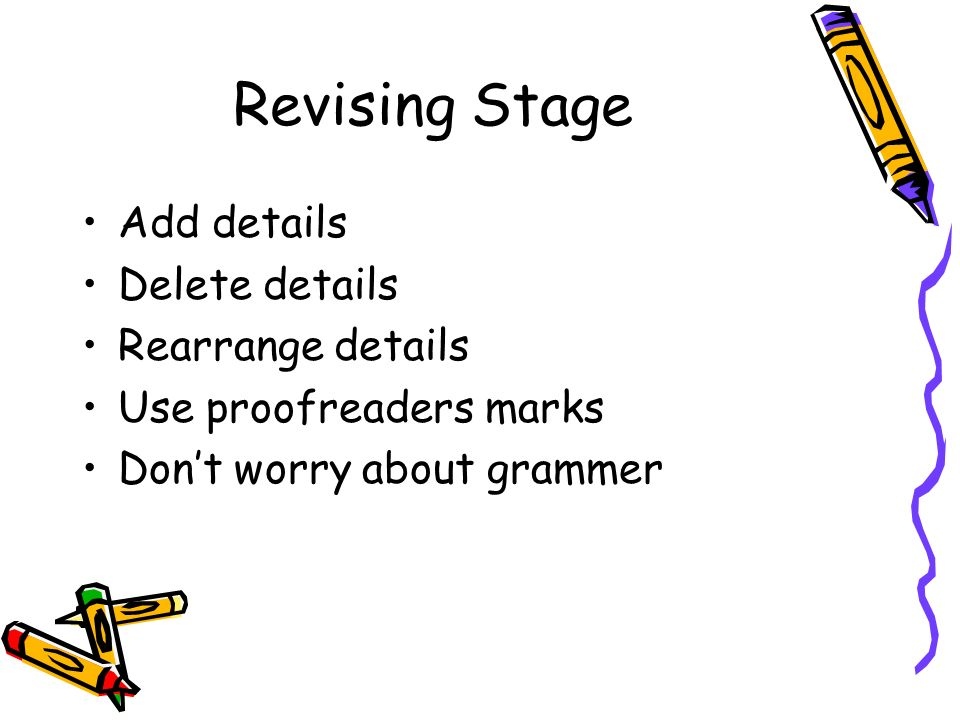Revising Stage Add details Delete details Rearrange details Use proofreaders marks Don't worry about grammer