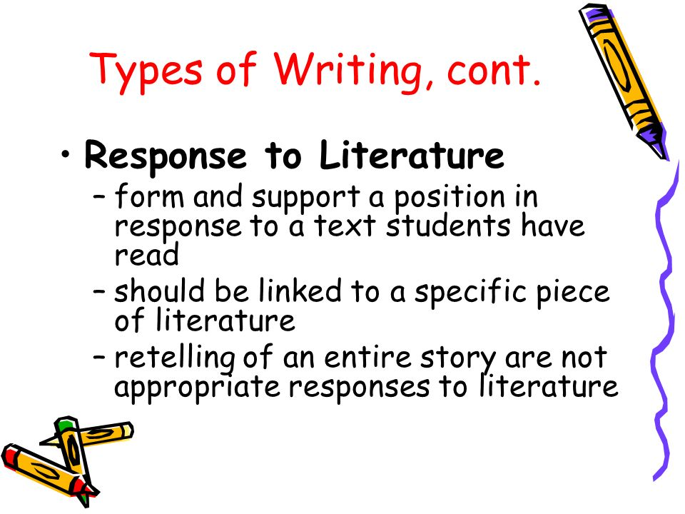 Types of Writing, cont.
