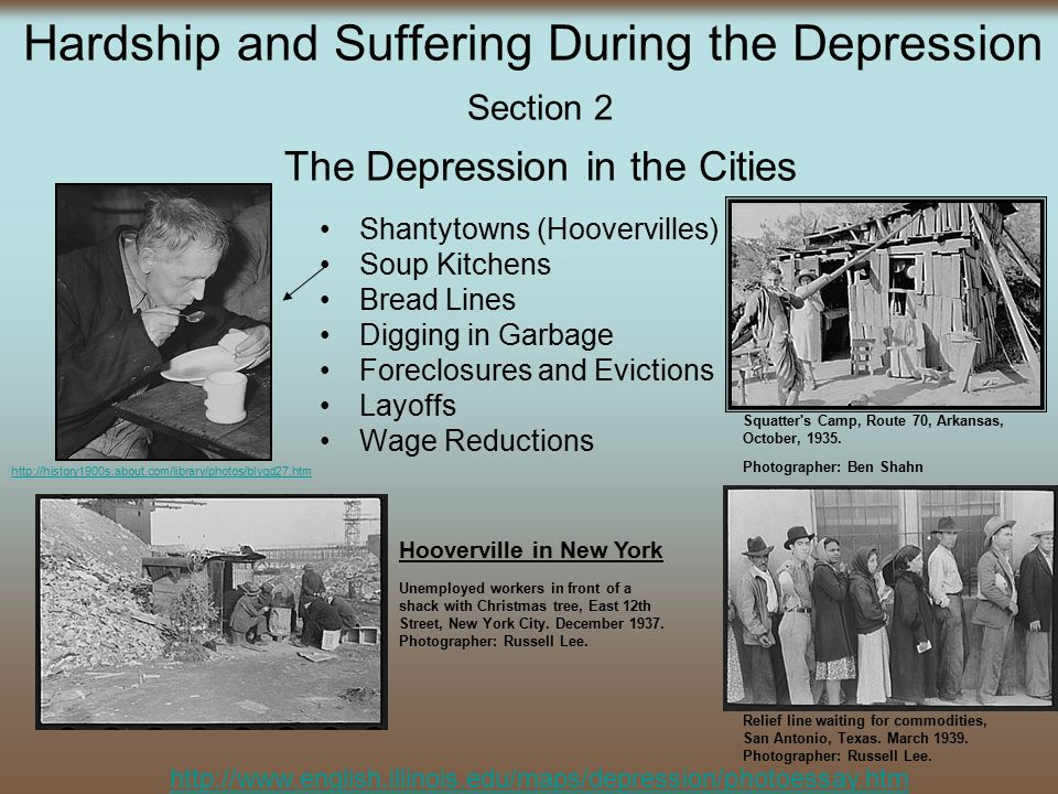 the hardships of people during the depression period
