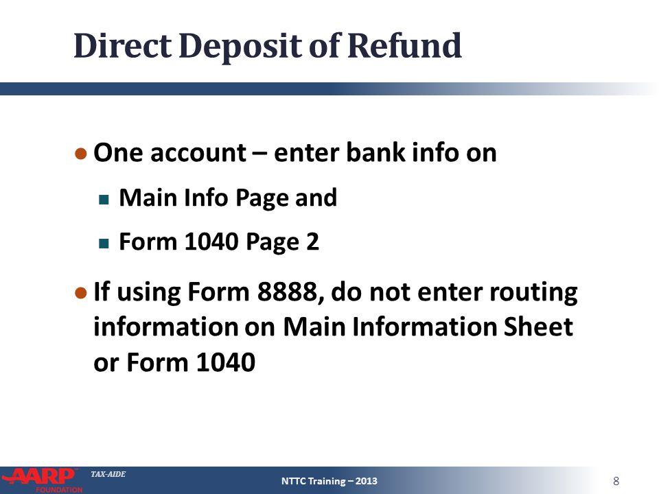 TAX-AIDE Refund/Tax Owed Pub 4491 – Page 289 NTTC Training – ppt ...