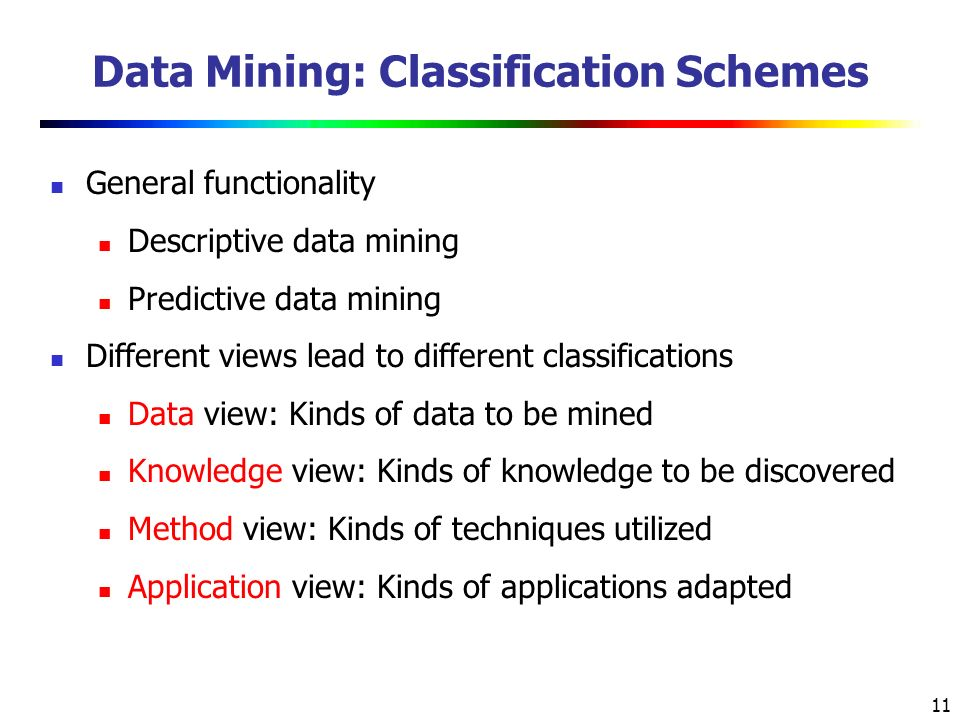 11 Data Mining: Classification Schemes General functionality Descriptive data mining Predictive data mining Different views lead to different classifications Data view: Kinds of data to be mined Knowledge view: Kinds of knowledge to be discovered Method view: Kinds of techniques utilized Application view: Kinds of applications adapted