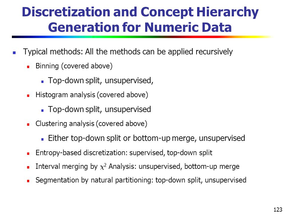 123 Discretization and Concept Hierarchy Generation for Numeric Data Typical methods: All the methods can be applied recursively Binning (covered above) Top-down split, unsupervised, Histogram analysis (covered above) Top-down split, unsupervised Clustering analysis (covered above) Either top-down split or bottom-up merge, unsupervised Entropy-based discretization: supervised, top-down split Interval merging by  2 Analysis: unsupervised, bottom-up merge Segmentation by natural partitioning: top-down split, unsupervised