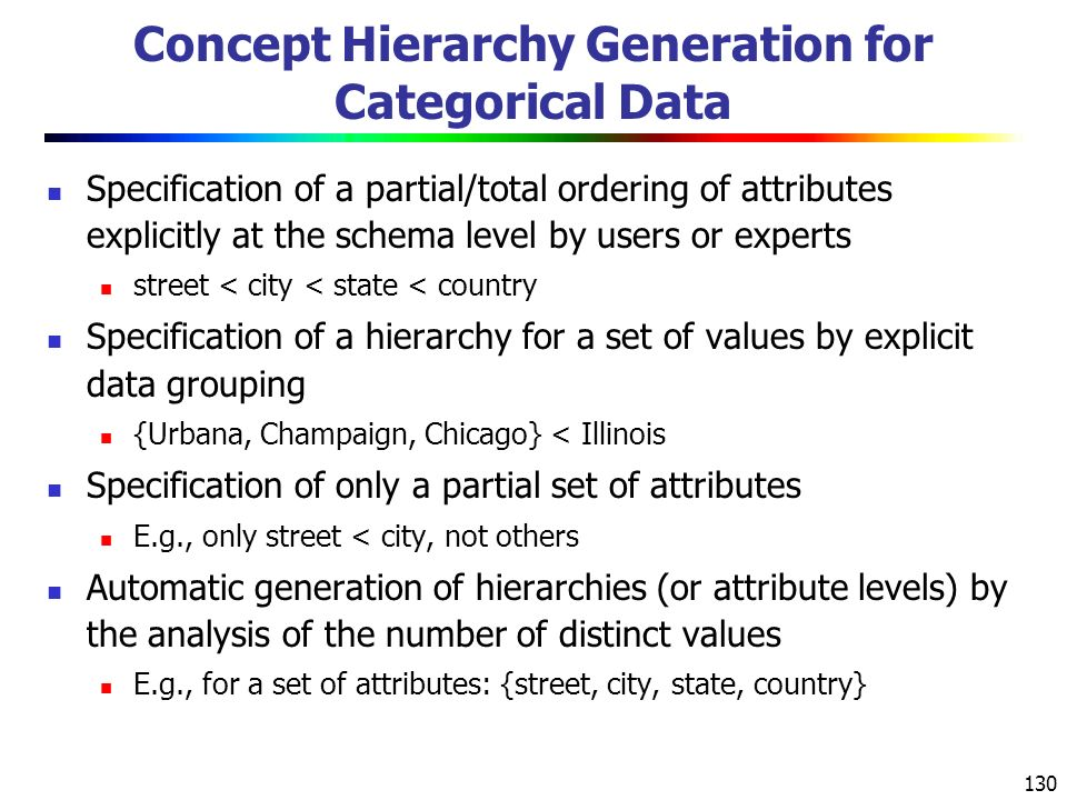 130 Concept Hierarchy Generation for Categorical Data Specification of a partial/total ordering of attributes explicitly at the schema level by users or experts street < city < state < country Specification of a hierarchy for a set of values by explicit data grouping {Urbana, Champaign, Chicago} < Illinois Specification of only a partial set of attributes E.g., only street < city, not others Automatic generation of hierarchies (or attribute levels) by the analysis of the number of distinct values E.g., for a set of attributes: {street, city, state, country}