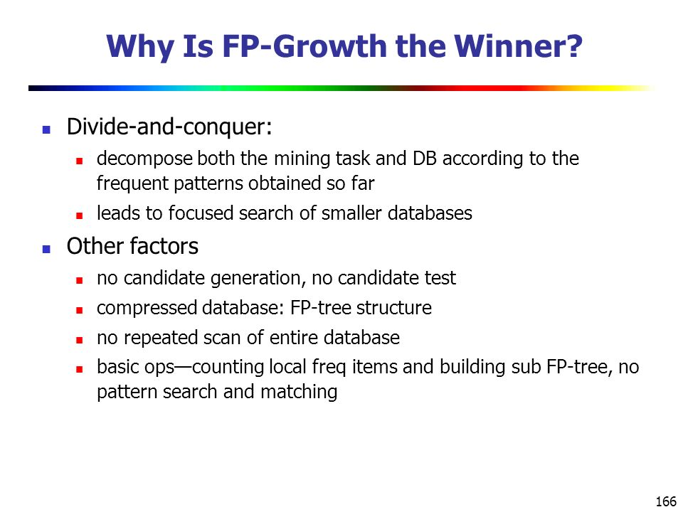166 Why Is FP-Growth the Winner.