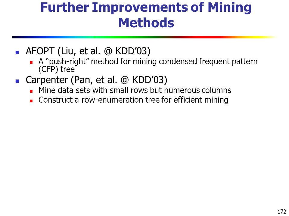 172 Further Improvements of Mining Methods AFOPT (Liu, et al.