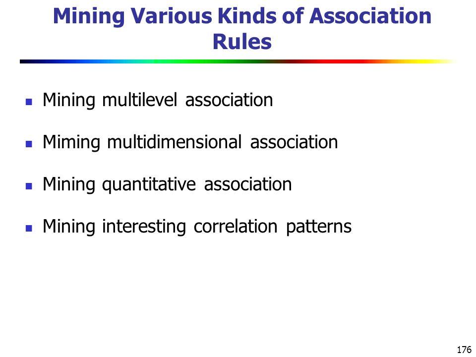 176 Mining Various Kinds of Association Rules Mining multilevel association Miming multidimensional association Mining quantitative association Mining interesting correlation patterns