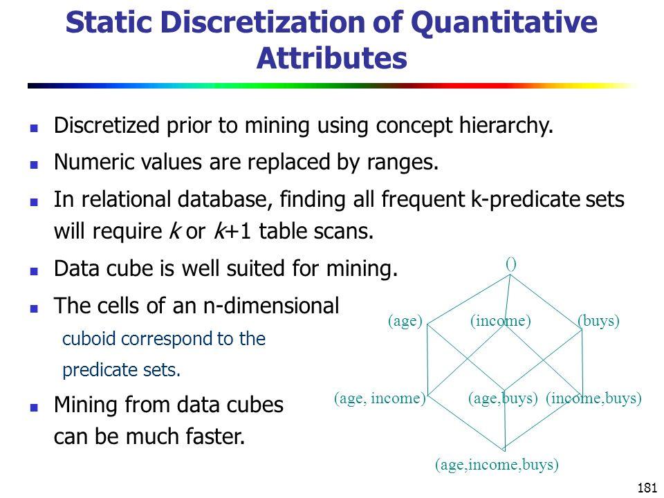 181 Static Discretization of Quantitative Attributes Discretized prior to mining using concept hierarchy.