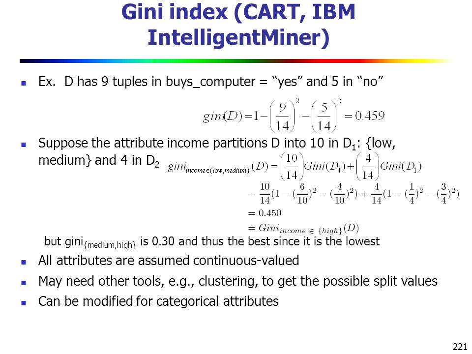 221 Gini index (CART, IBM IntelligentMiner) Ex.