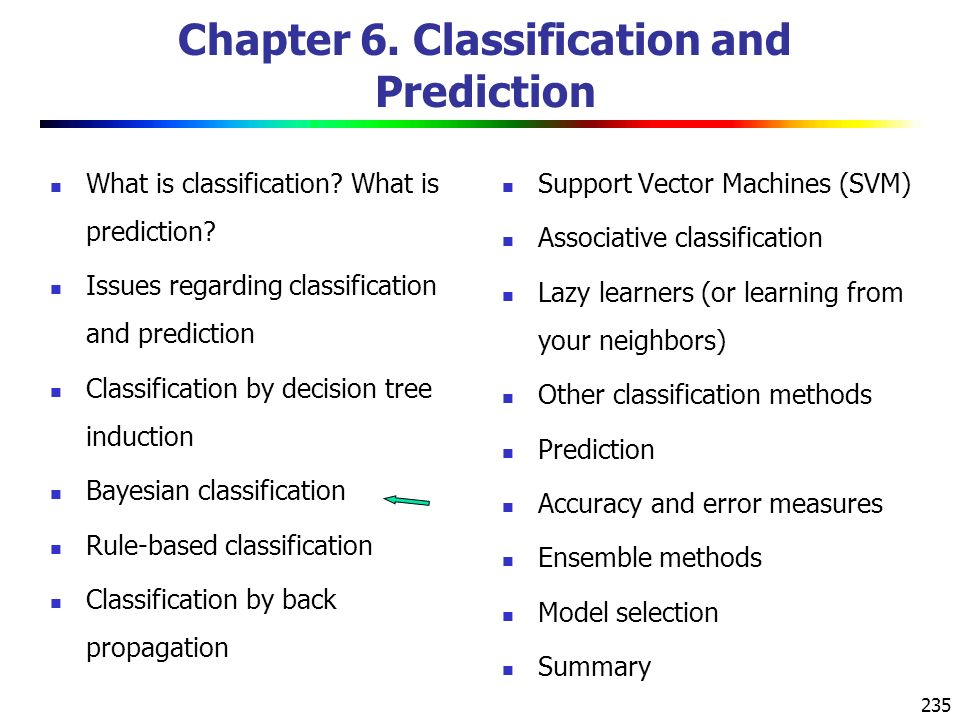 235 Chapter 6. Classification and Prediction What is classification.