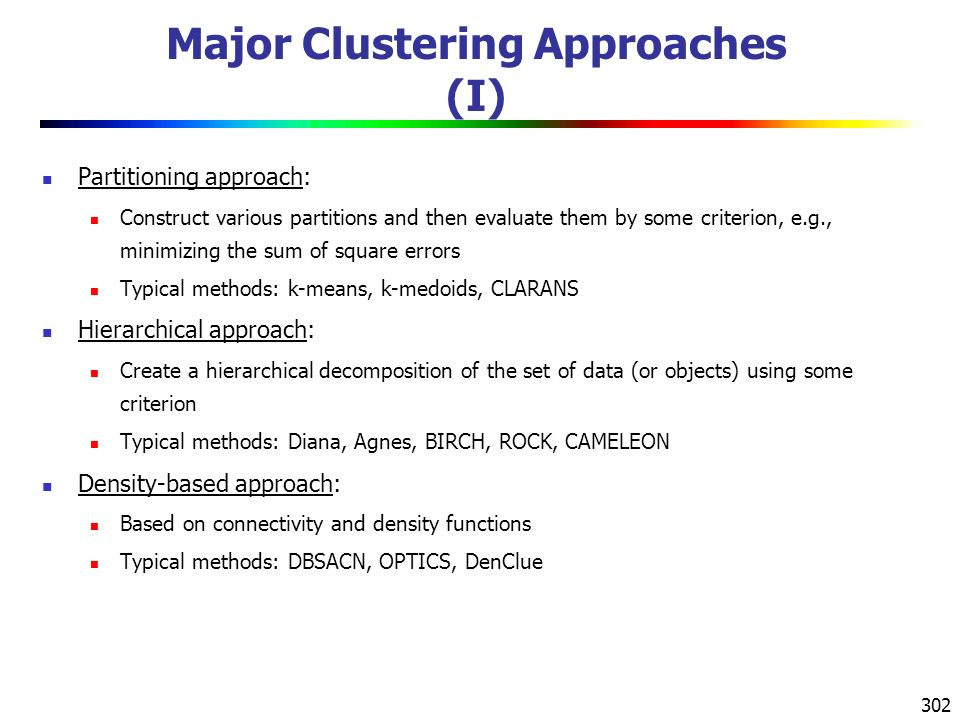 302 Major Clustering Approaches (I) Partitioning approach: Construct various partitions and then evaluate them by some criterion, e.g., minimizing the sum of square errors Typical methods: k-means, k-medoids, CLARANS Hierarchical approach: Create a hierarchical decomposition of the set of data (or objects) using some criterion Typical methods: Diana, Agnes, BIRCH, ROCK, CAMELEON Density-based approach: Based on connectivity and density functions Typical methods: DBSACN, OPTICS, DenClue