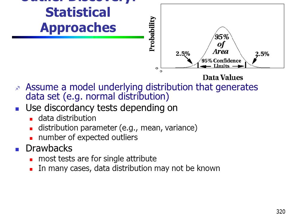 320 Outlier Discovery: Statistical Approaches f Assume a model underlying distribution that generates data set (e.g.