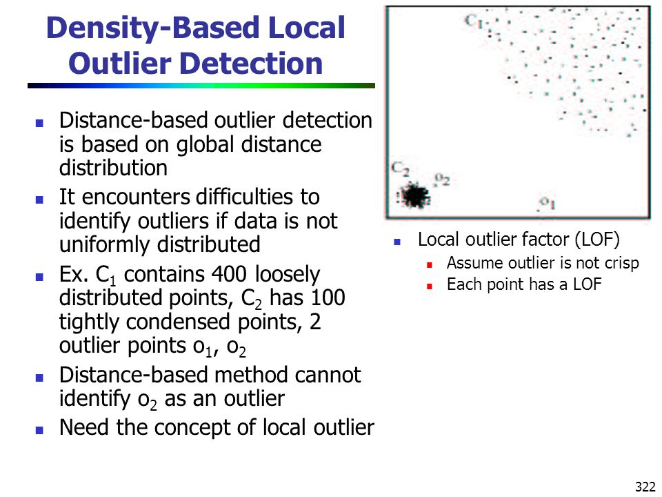 322 Density-Based Local Outlier Detection Distance-based outlier detection is based on global distance distribution It encounters difficulties to identify outliers if data is not uniformly distributed Ex.