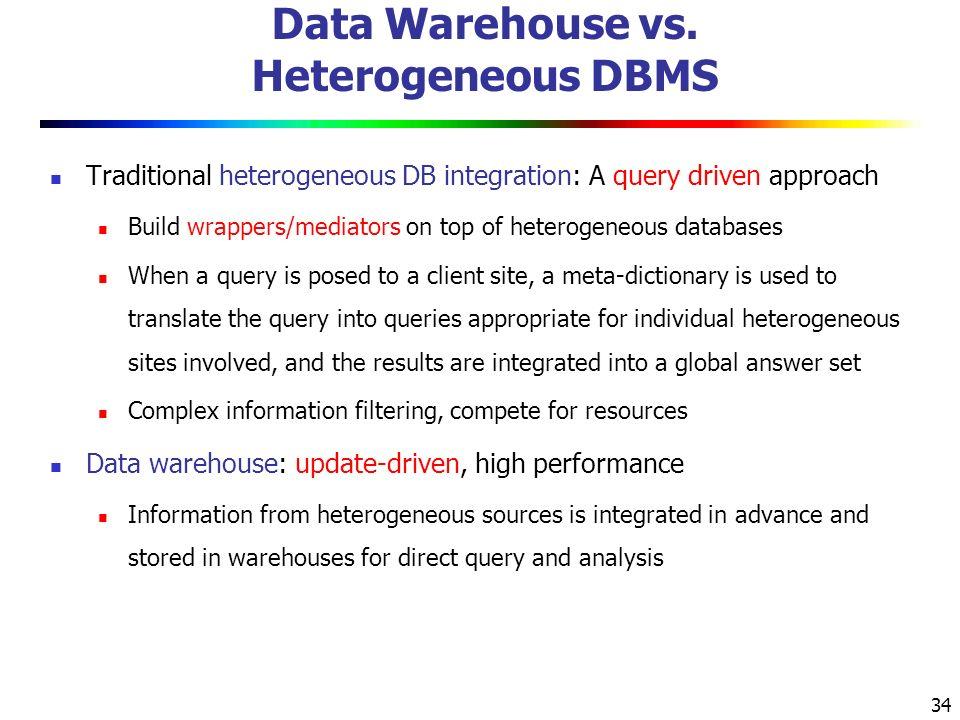 34 Data Warehouse vs.