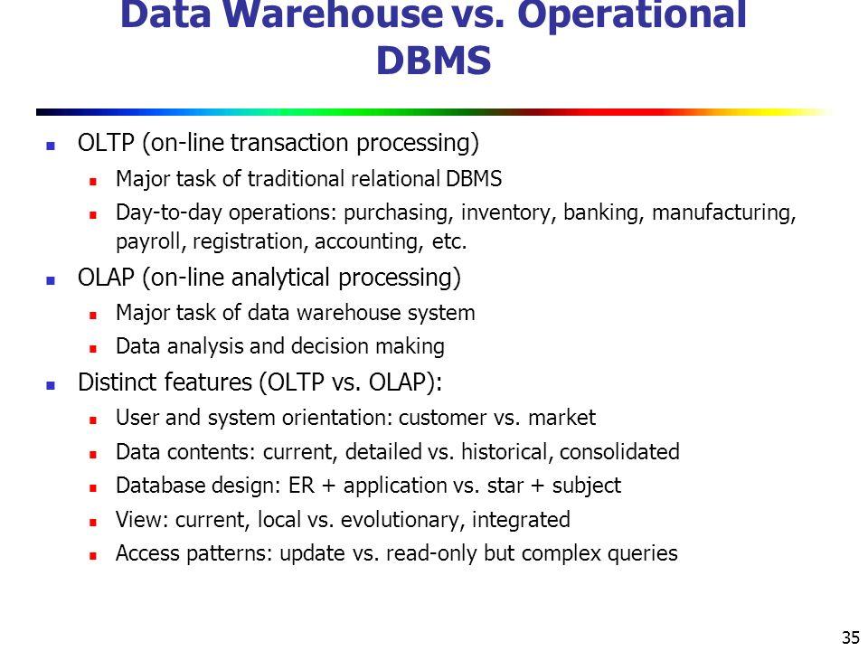 35 Data Warehouse vs.