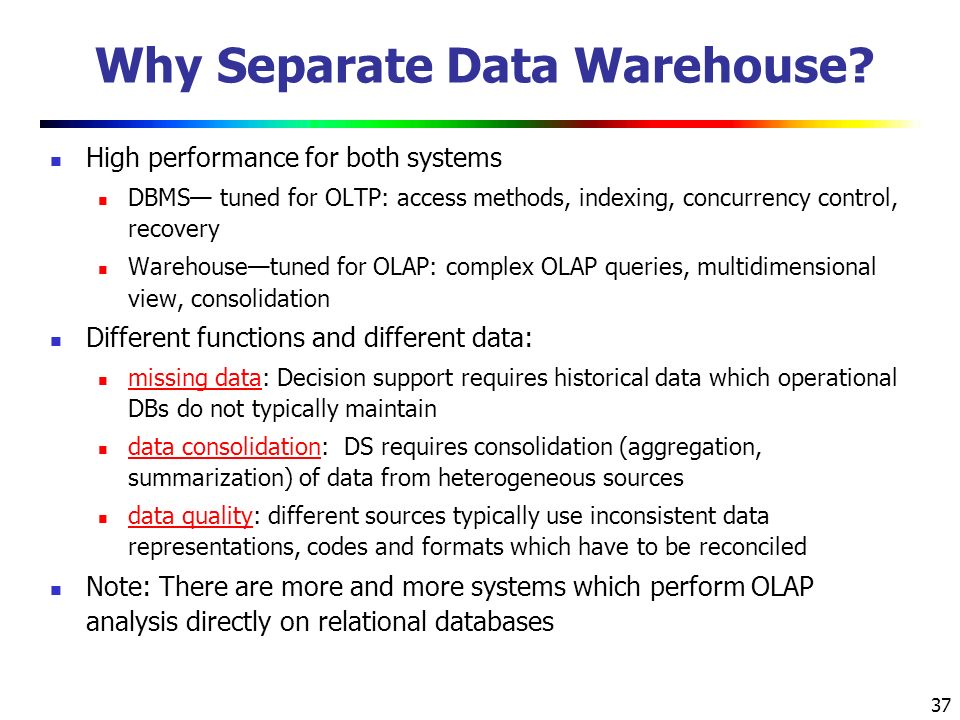37 Why Separate Data Warehouse.