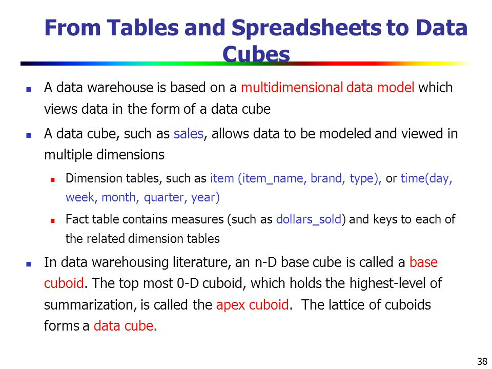 38 From Tables and Spreadsheets to Data Cubes A data warehouse is based on a multidimensional data model which views data in the form of a data cube A data cube, such as sales, allows data to be modeled and viewed in multiple dimensions Dimension tables, such as item (item_name, brand, type), or time(day, week, month, quarter, year) Fact table contains measures (such as dollars_sold) and keys to each of the related dimension tables In data warehousing literature, an n-D base cube is called a base cuboid.