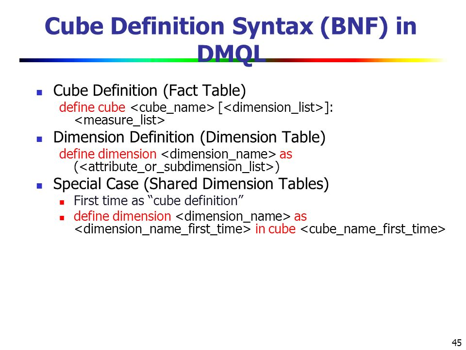 45 Cube Definition Syntax (BNF) in DMQL Cube Definition (Fact Table) define cube [ ]: Dimension Definition (Dimension Table) define dimension as ( ) Special Case (Shared Dimension Tables) First time as cube definition define dimension as in cube