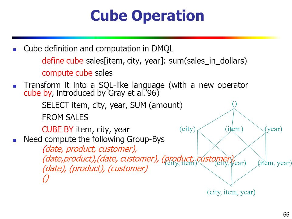 66 Cube Operation Cube definition and computation in DMQL define cube sales[item, city, year]: sum(sales_in_dollars) compute cube sales Transform it into a SQL-like language (with a new operator cube by, introduced by Gray et al.'96) SELECT item, city, year, SUM (amount) FROM SALES CUBE BY item, city, year Need compute the following Group-Bys (date, product, customer), (date,product),(date, customer), (product, customer), (date), (product), (customer) () (item)(city) () (year) (city, item)(city, year)(item, year) (city, item, year)