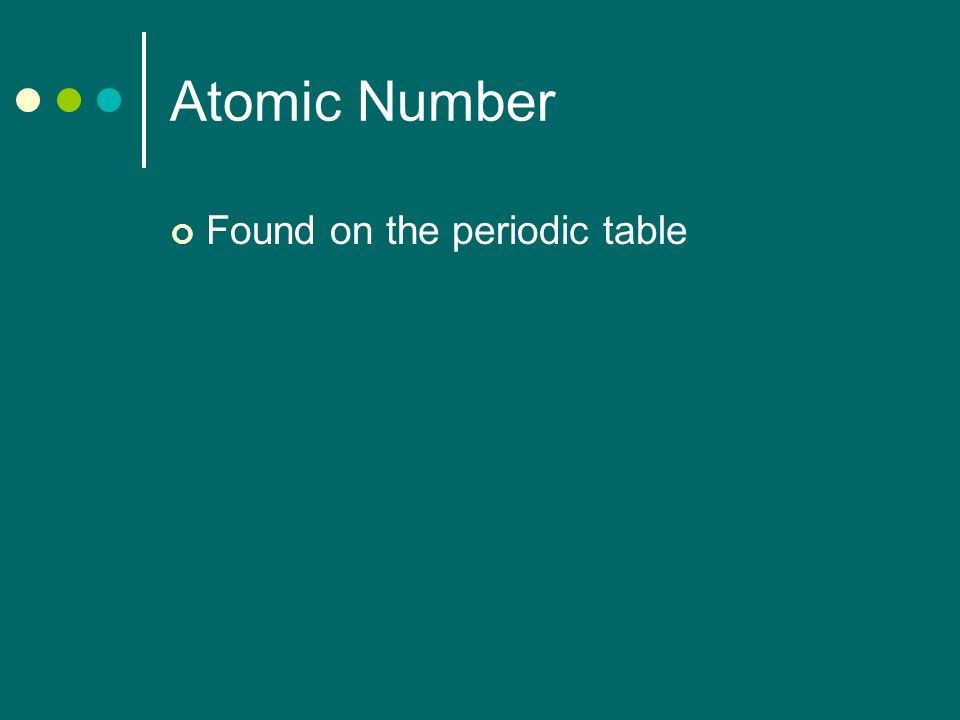 Atomic Number Found on the periodic table