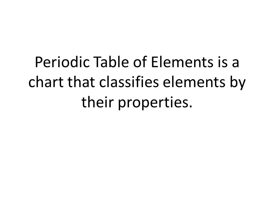 Periodic Table of Elements is a chart that classifies elements by their properties.