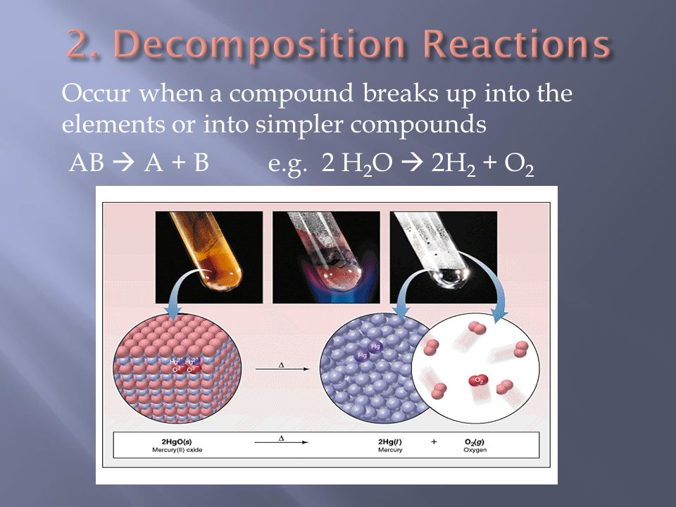 Occur when a compound breaks up into the elements or into simpler compounds AB  A + B e.g.