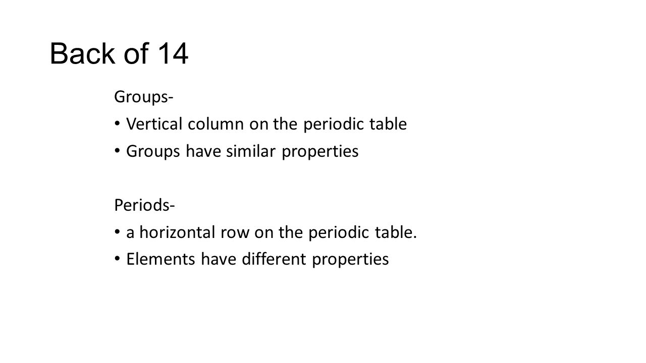 Groups of the periodic table ppt download 5 back of 14 groups vertical column on the periodic table groups have similar properties periods a horizontal row on the periodic table gamestrikefo Image collections