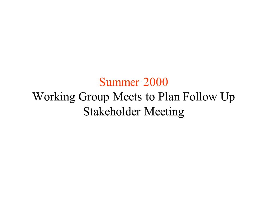 Summer 2000 Working Group Meets to Plan Follow Up Stakeholder Meeting