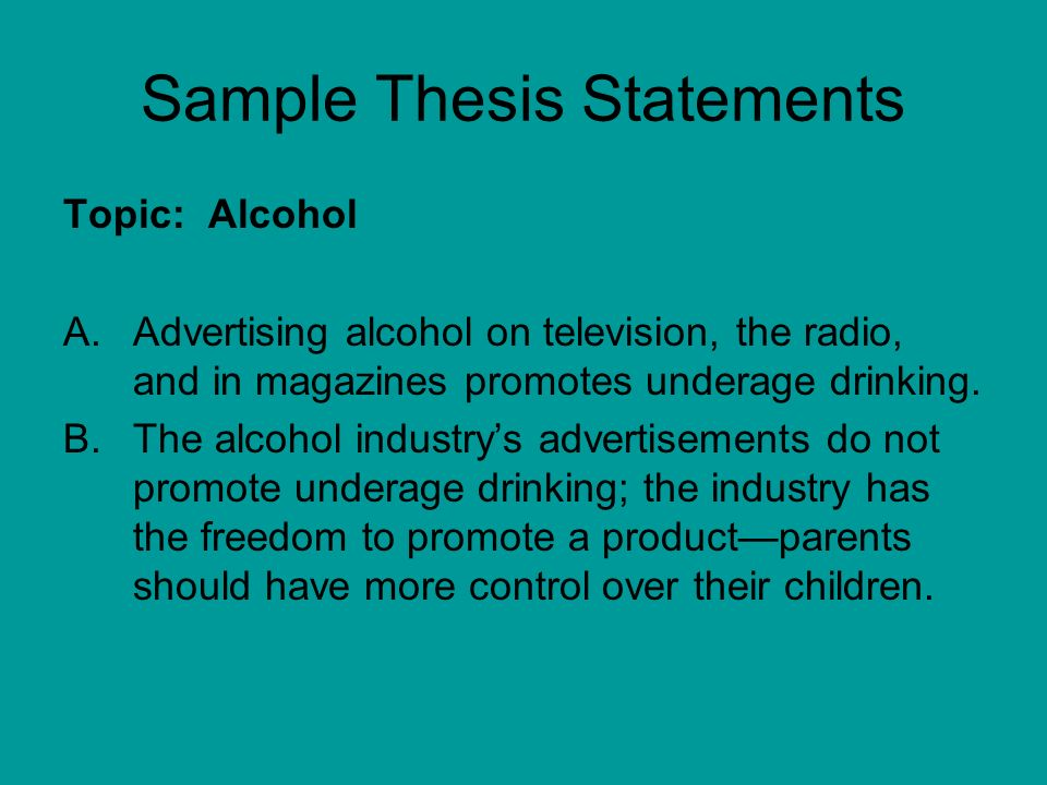 thesis statement on drinking alcohol