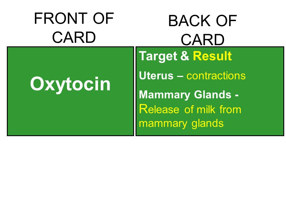 FRONT OF CARD Oxytocin BACK OF CARD Target & Result Uterus – contractions Mammary Glands - R elease of milk from mammary glands