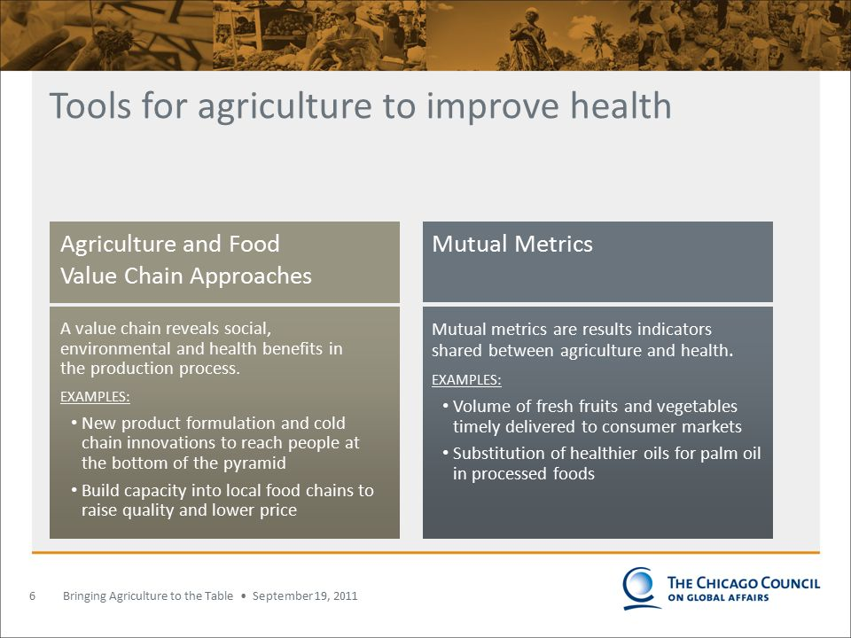 Bringing Agriculture to the Table September 19, 2011 Tools for agriculture to improve health 6 Agriculture and Food Value Chain Approaches A value chain reveals social, environmental and health benefits in the production process.