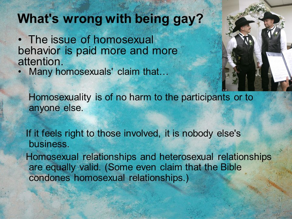 homosexuality is it right or wrong essay Homosexuality is not a choice but a result the morality of homosexuality is a topic that splits the advocates of homosexuality and the people who condemn homosexuality.