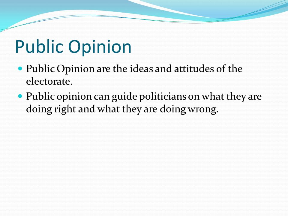 Public Opinion Public Opinion are the ideas and attitudes of the electorate.
