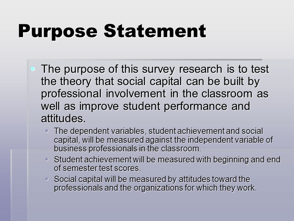 Purpose statement research