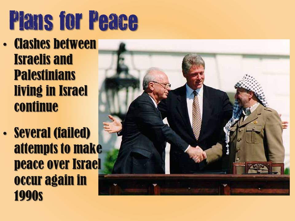 Clashes between Israelis and Palestinians living in Israel continueClashes between Israelis and Palestinians living in Israel continue Several (failed) attempts to make peace over Israel occur again in 1990sSeveral (failed) attempts to make peace over Israel occur again in 1990s