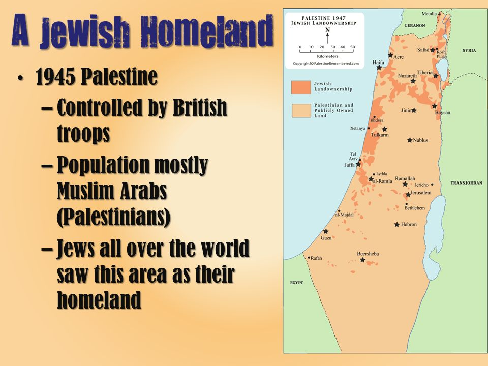 1945 Palestine1945 Palestine –Controlled by British troops –Population mostly Muslim Arabs (Palestinians) –Jews all over the world saw this area as their homeland