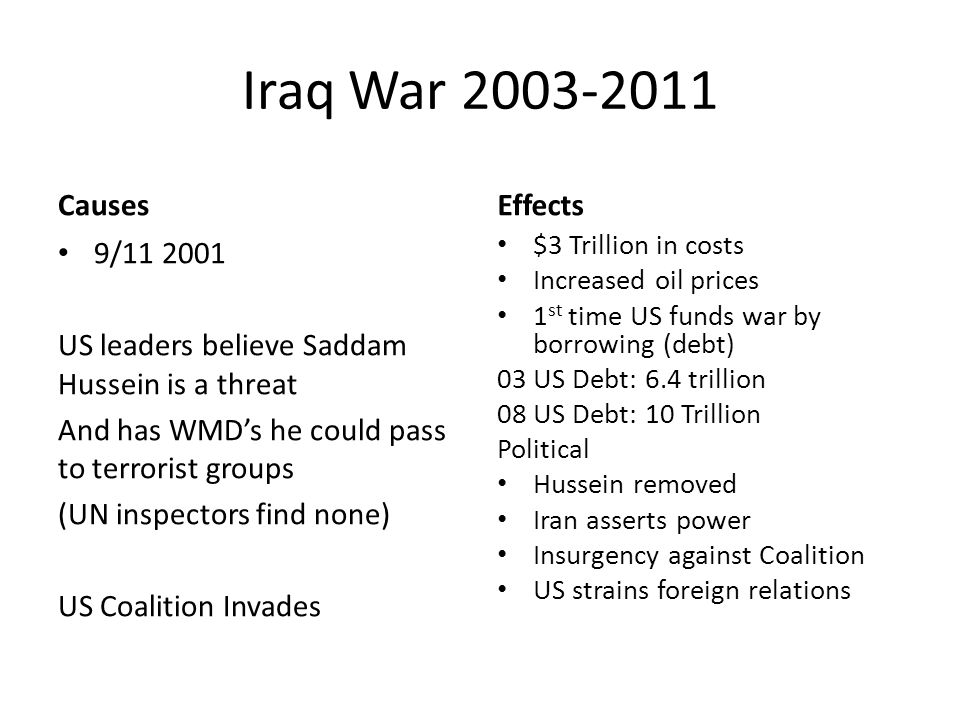 Iraq War Causes 9/ US leaders believe Saddam Hussein is a threat And has WMD's he could pass to terrorist groups (UN inspectors find none) US Coalition Invades Effects $3 Trillion in costs Increased oil prices 1 st time US funds war by borrowing (debt) 03 US Debt: 6.4 trillion 08 US Debt: 10 Trillion Political Hussein removed Iran asserts power Insurgency against Coalition US strains foreign relations