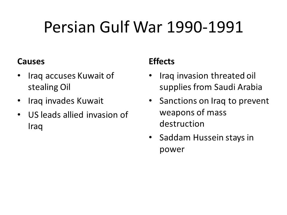 Persian Gulf War Causes Iraq accuses Kuwait of stealing Oil Iraq invades Kuwait US leads allied invasion of Iraq Effects Iraq invasion threated oil supplies from Saudi Arabia Sanctions on Iraq to prevent weapons of mass destruction Saddam Hussein stays in power