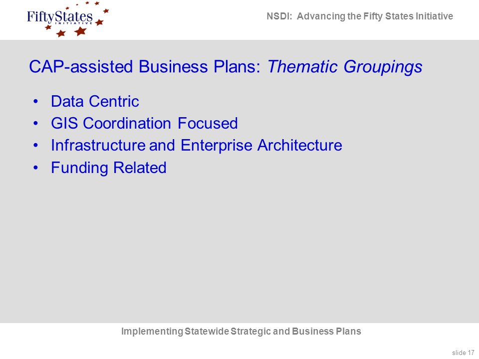slide 17 NSDI: Advancing the Fifty States Initiative Implementing Statewide Strategic and Business Plans CAP-assisted Business Plans: Thematic Groupings Data Centric GIS Coordination Focused Infrastructure and Enterprise Architecture Funding Related